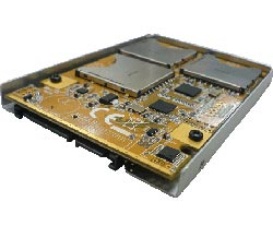 Solid State Disk mit SATA I/II Anschluss und 6 Steckplätzen für SD Flash Speicherkarten (SDHC SLC) ANS9012. Grösseres Bild hier klicken...
